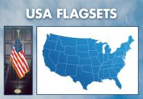 Indoor - U.S.A. Complete Indoor Flag Set - 8ft
